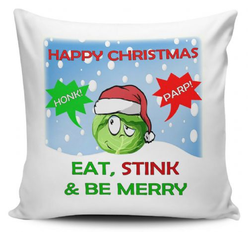 Happy Christmas Eat Stink & Be Merry Funny Novelty Cushion Cover